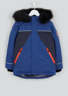 Boys Blue Panelled Parka Jacket (4-13yrs)