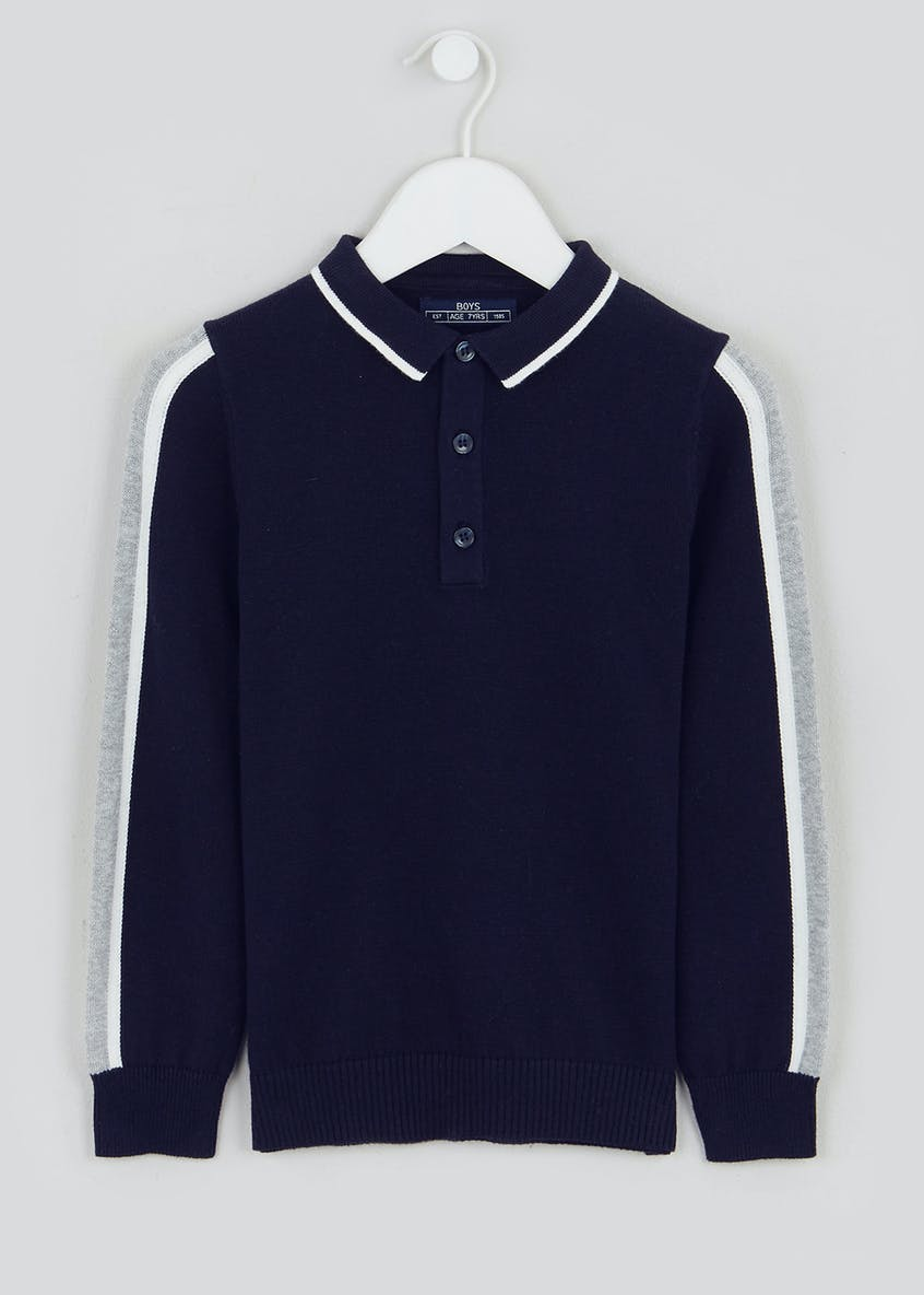 Boys Side Stripe Knitted Polo Shirt (4-13yrs)