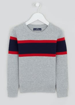 Boys Crew Neck Ribbed Stripe Jumper (4-10yrs)