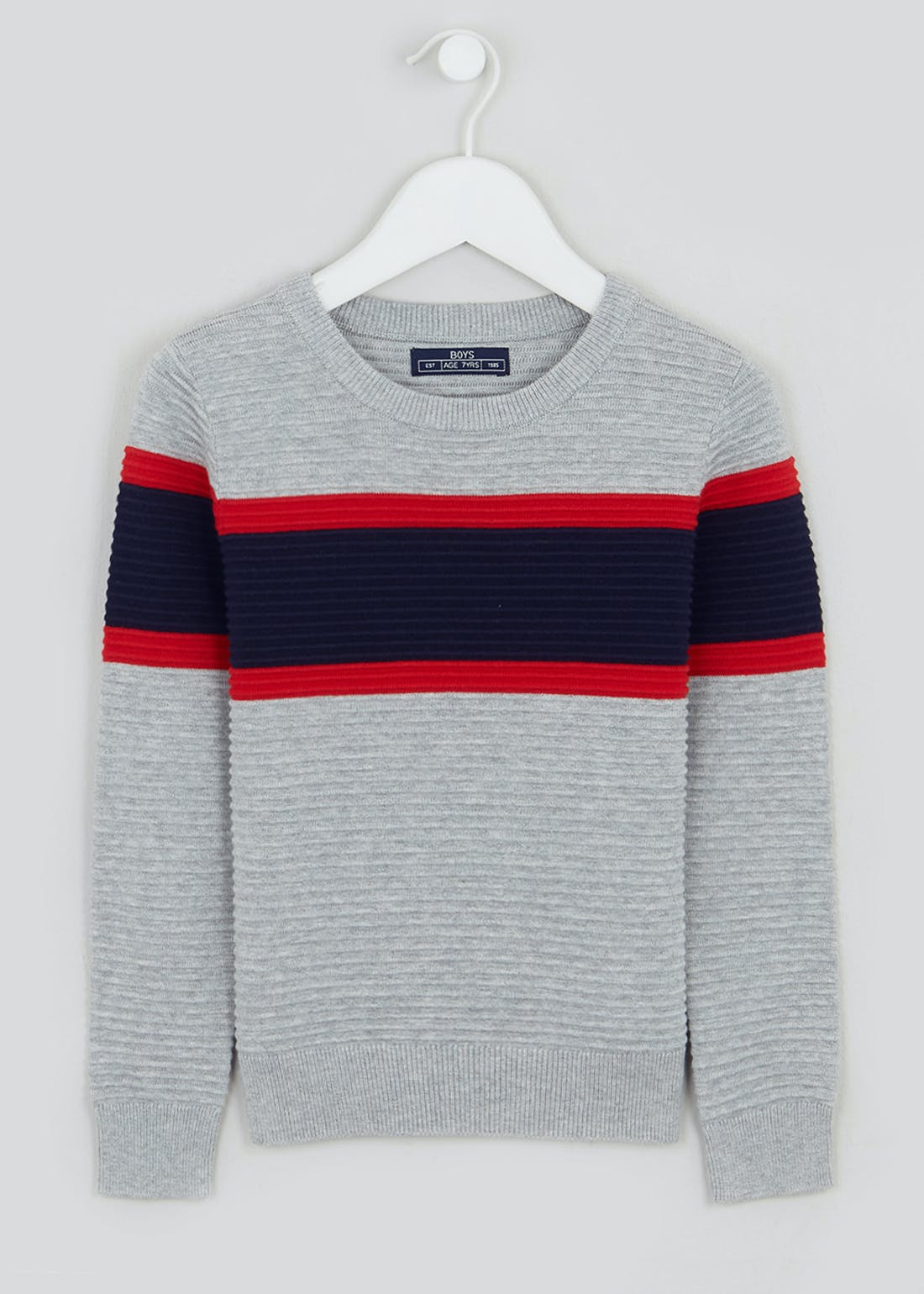 Boys Crew Neck Ribbed Knitted Stripe Jumper (4-10yrs)