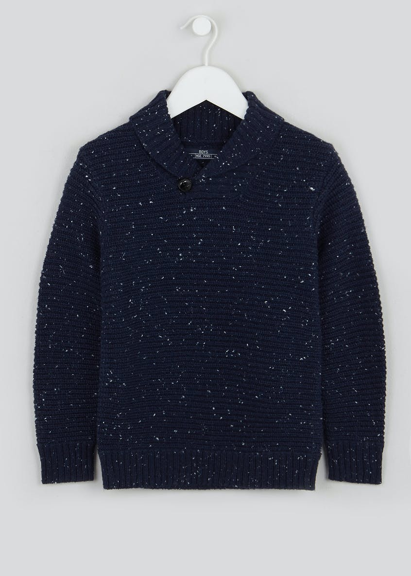 Boys Knitted Shawl Neck Jumper (4-13yrs)