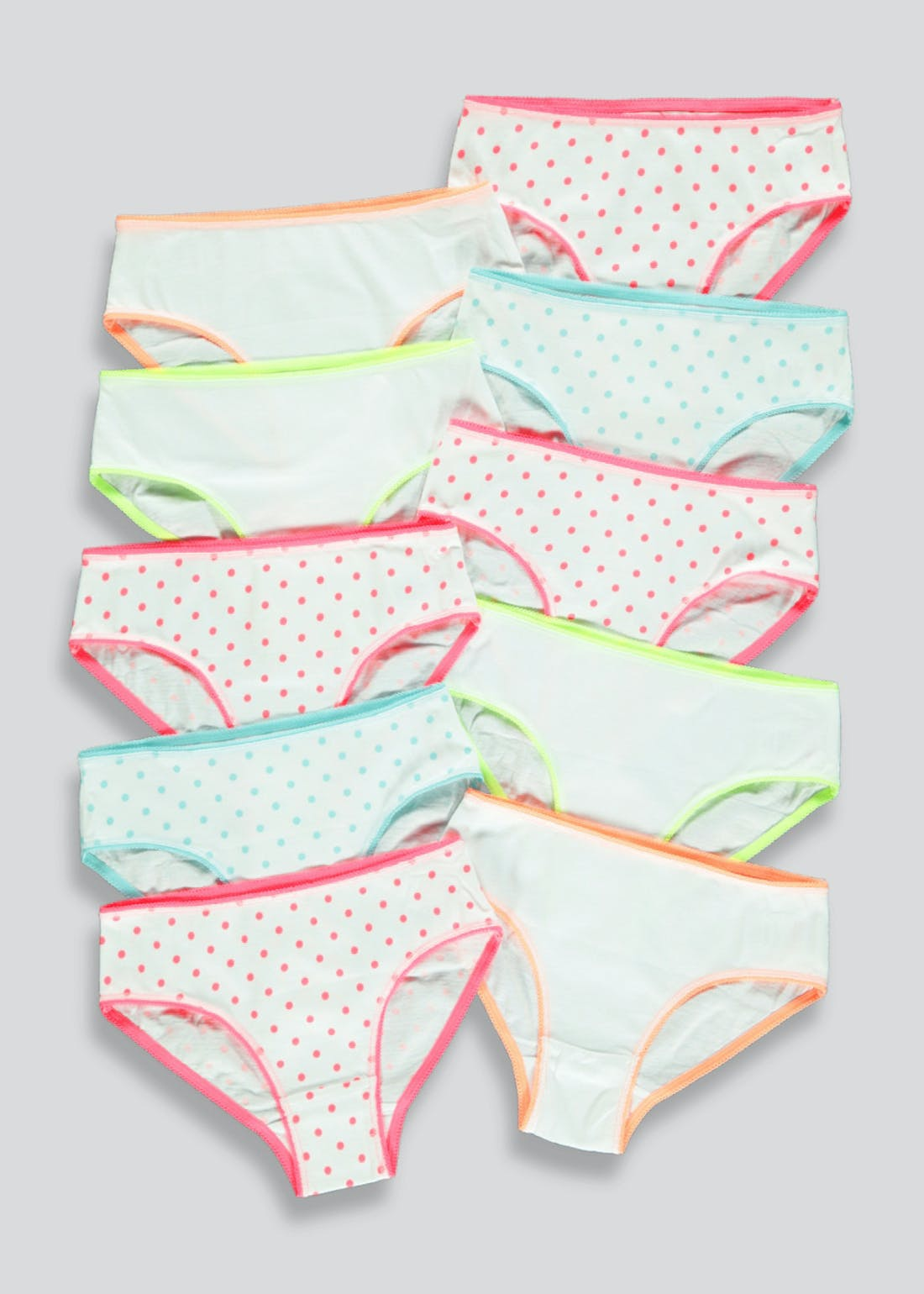 Girls 10 Pack Neon Knickers (2-13yrs)