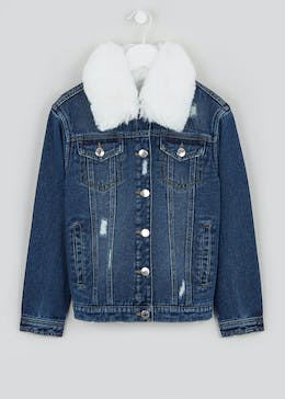 Girls Candy Couture Faux Fur Collar Denim Jacket (9-16yrs)