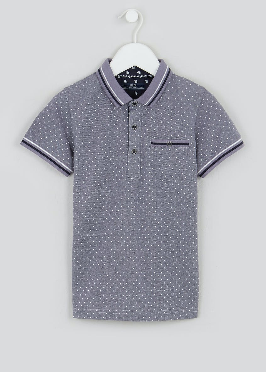 Boys Mini Me Short Sleeve Polka Dot Polo Shirt (4-13yrs)