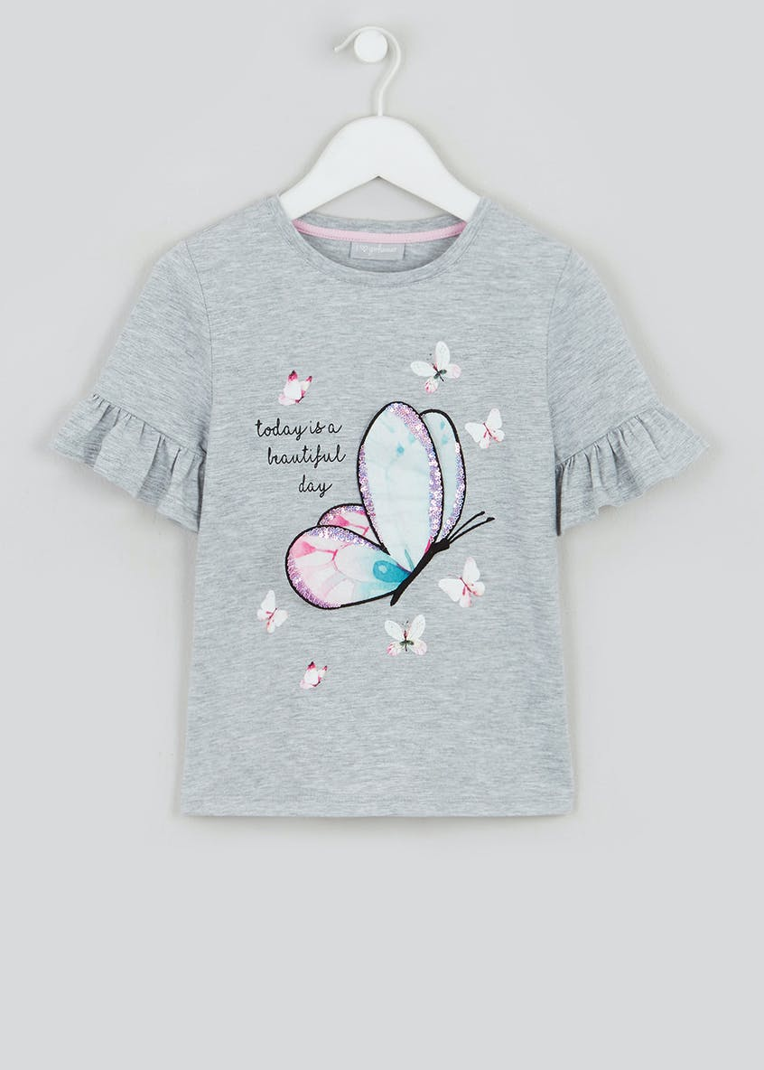 Girls Sequin Print Butterfly T Shirt (4-13yrs)