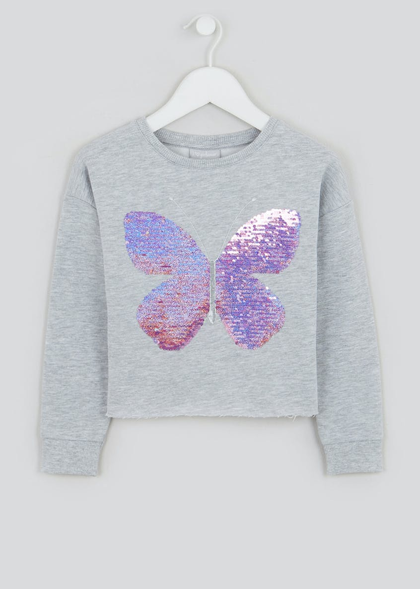 Girls Flippy Sequin Butterfly Sweatshirt (4-13yrs)
