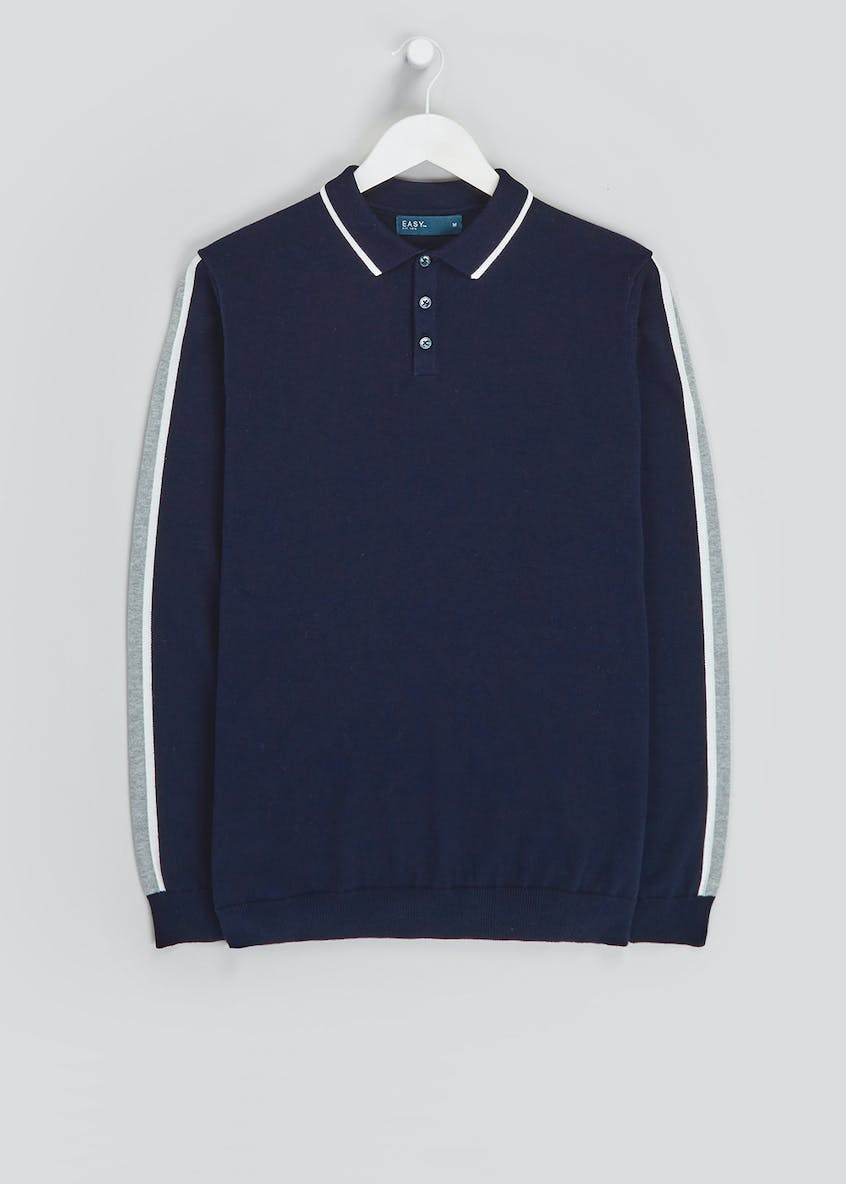 Stripe Sleeve Knitted Polo