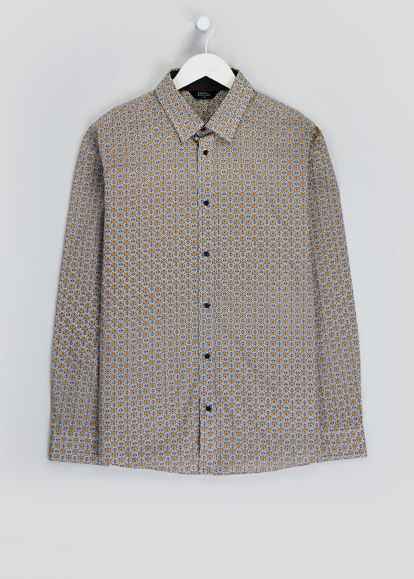 Long Sleeve Slim Fit Geometric Shirt