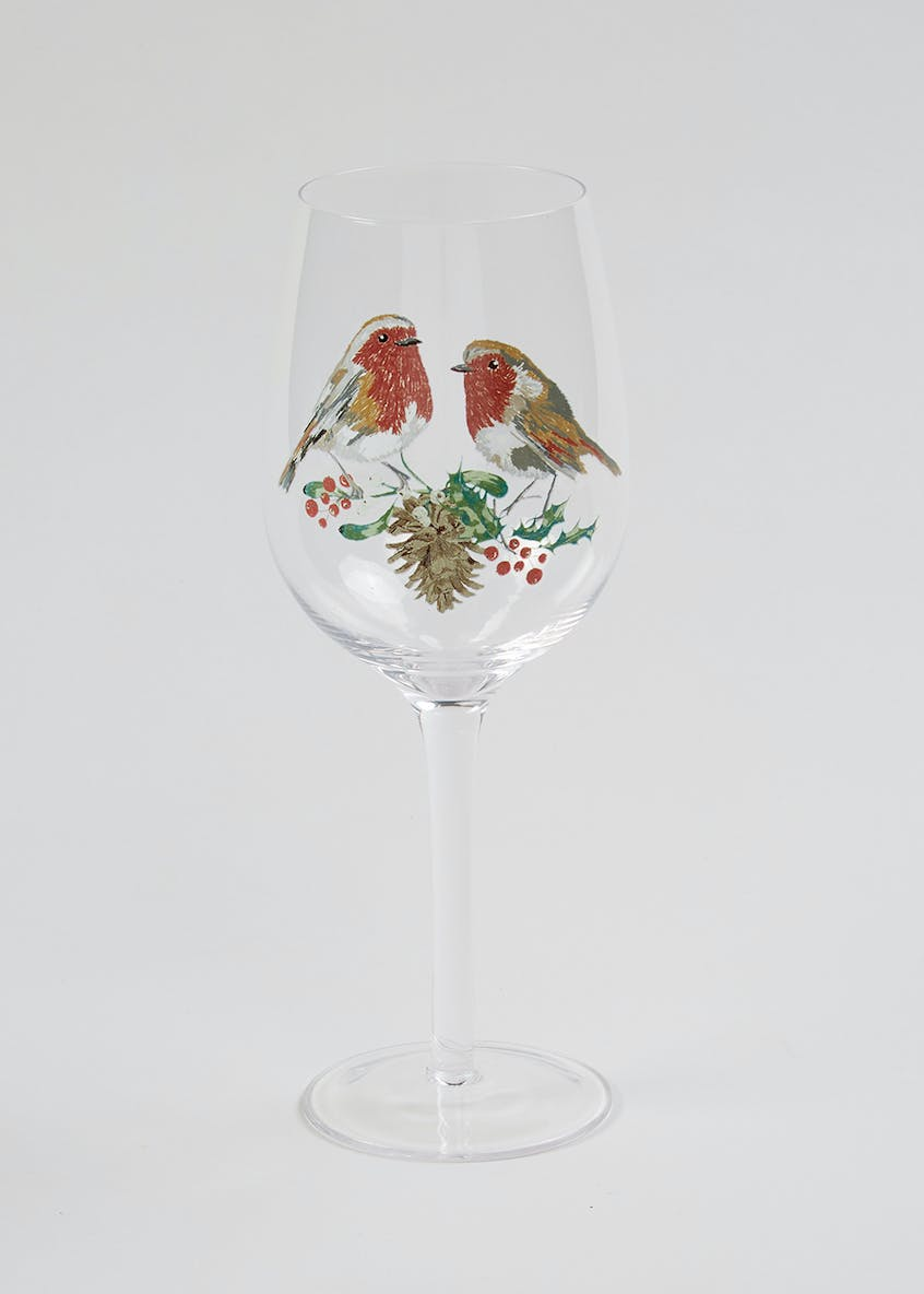 Robin Christmas Wine Glass (23cm x 7cm)