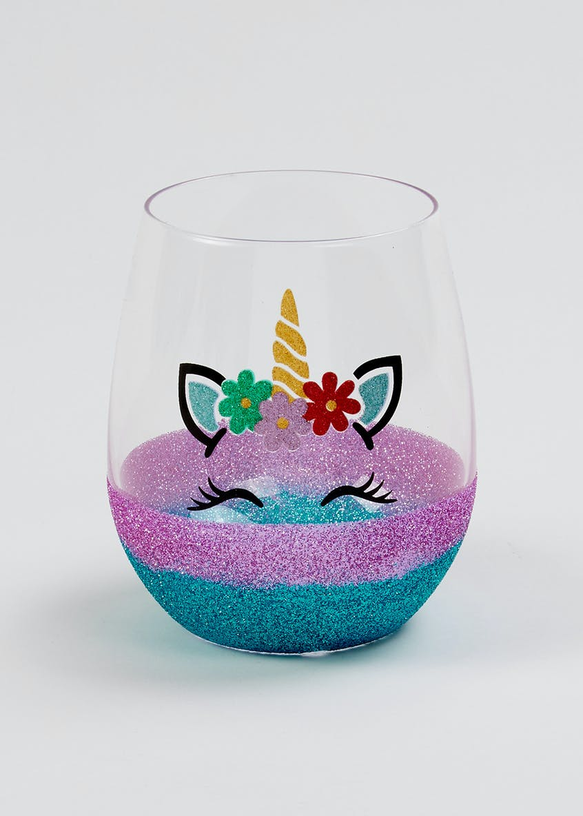 Glitter Unicorn Tumbler Glass (12cm x 8cm)