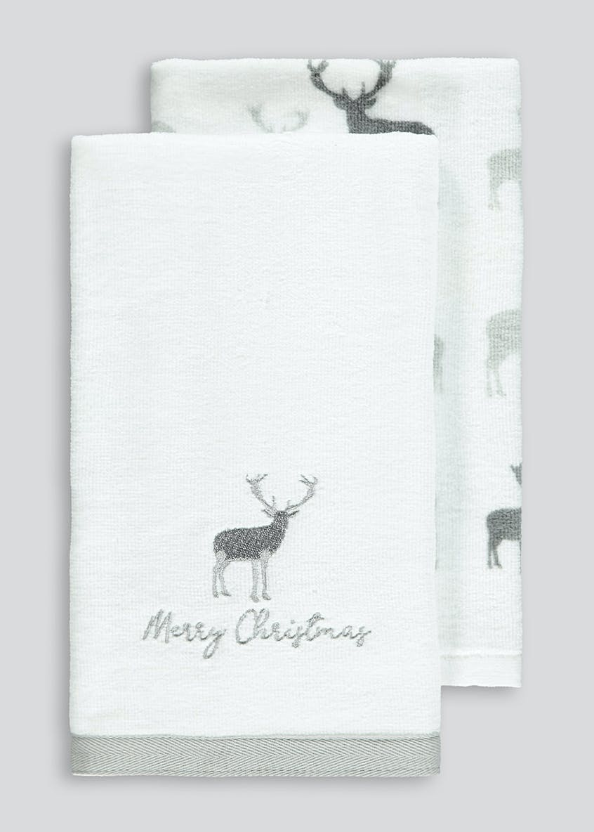 2 Pack Christmas Stag Tea Towels (60cm x 40cm)