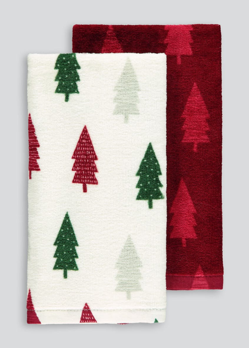 2 Pack Christmas Tree Tea Towels (60cm x 40cm)