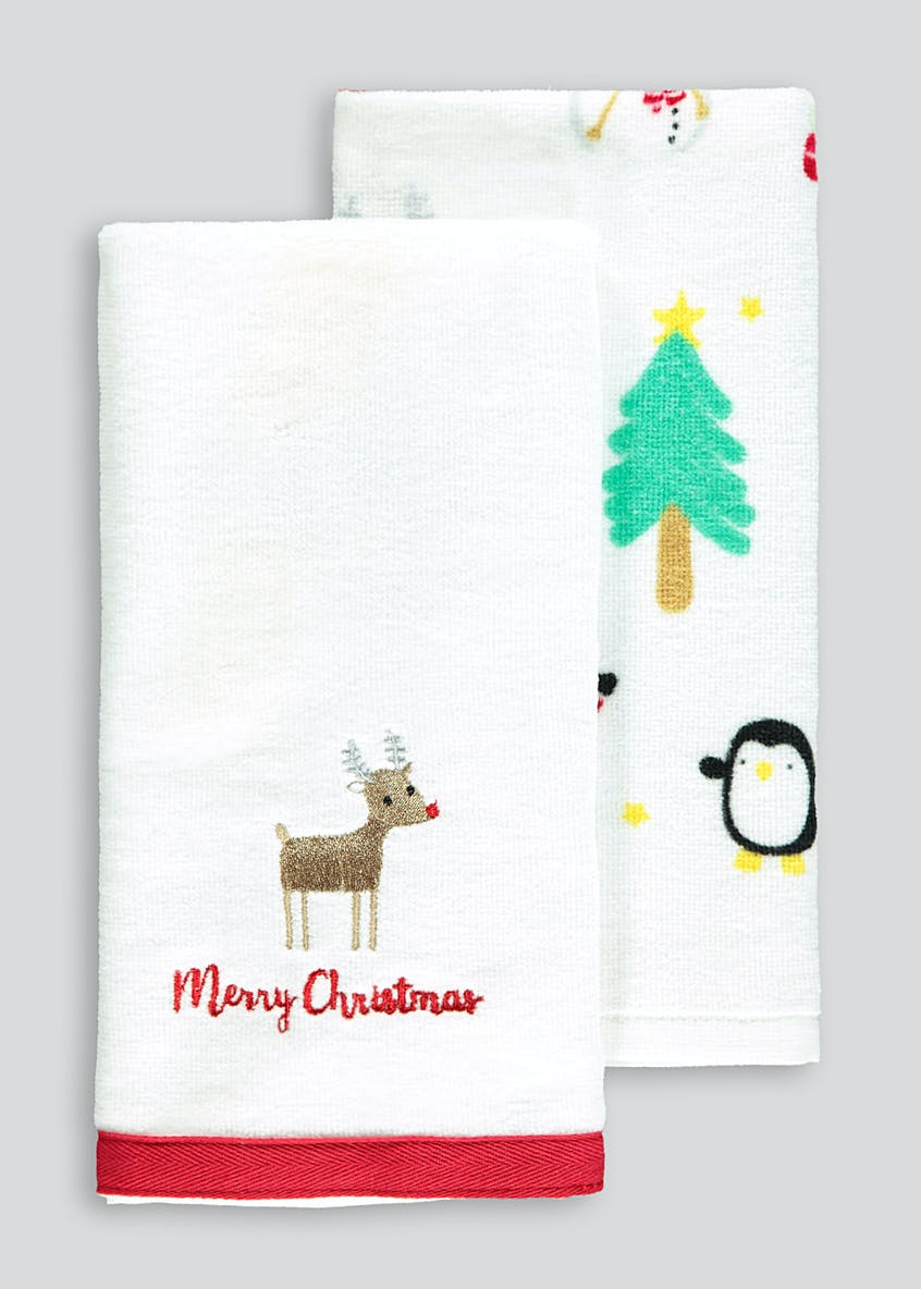 2 Pack Novelty Christmas Tea Towels
