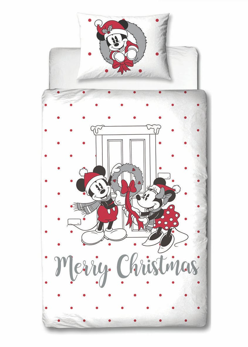 Kids Disney Mickey & Minnie Mouse Christmas Duvet Cover (Single)