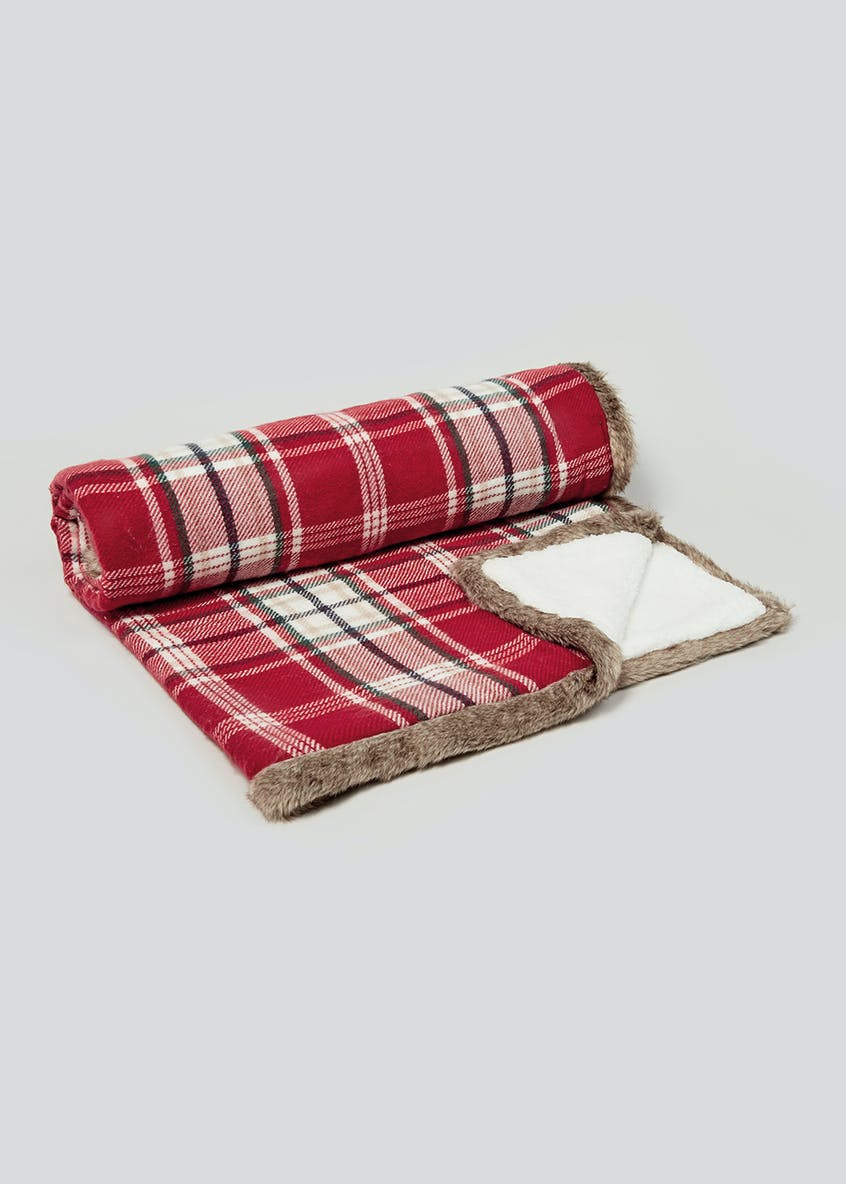 Tartan Faux Fur Trim Throw Blanket (150cm x 130cm)
