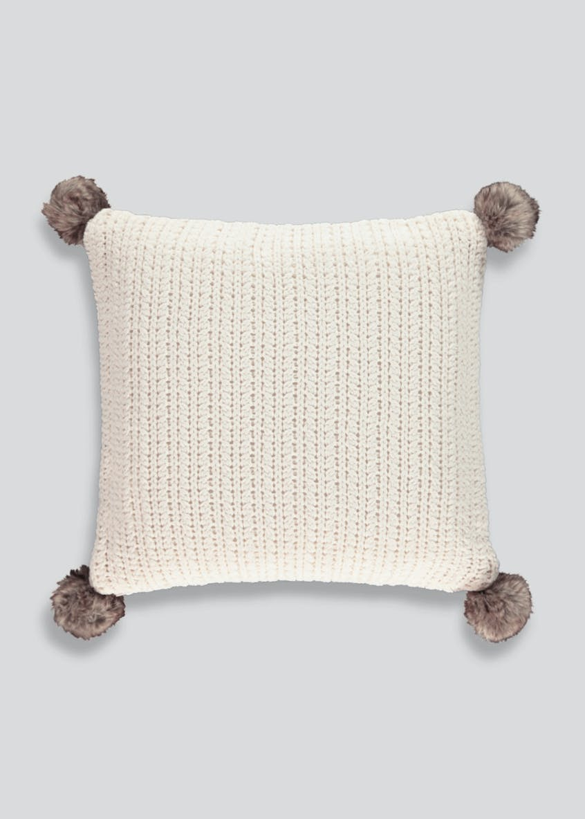 Chenille Knit Cushion with Faux Fur Poms (48cm x 48cm)