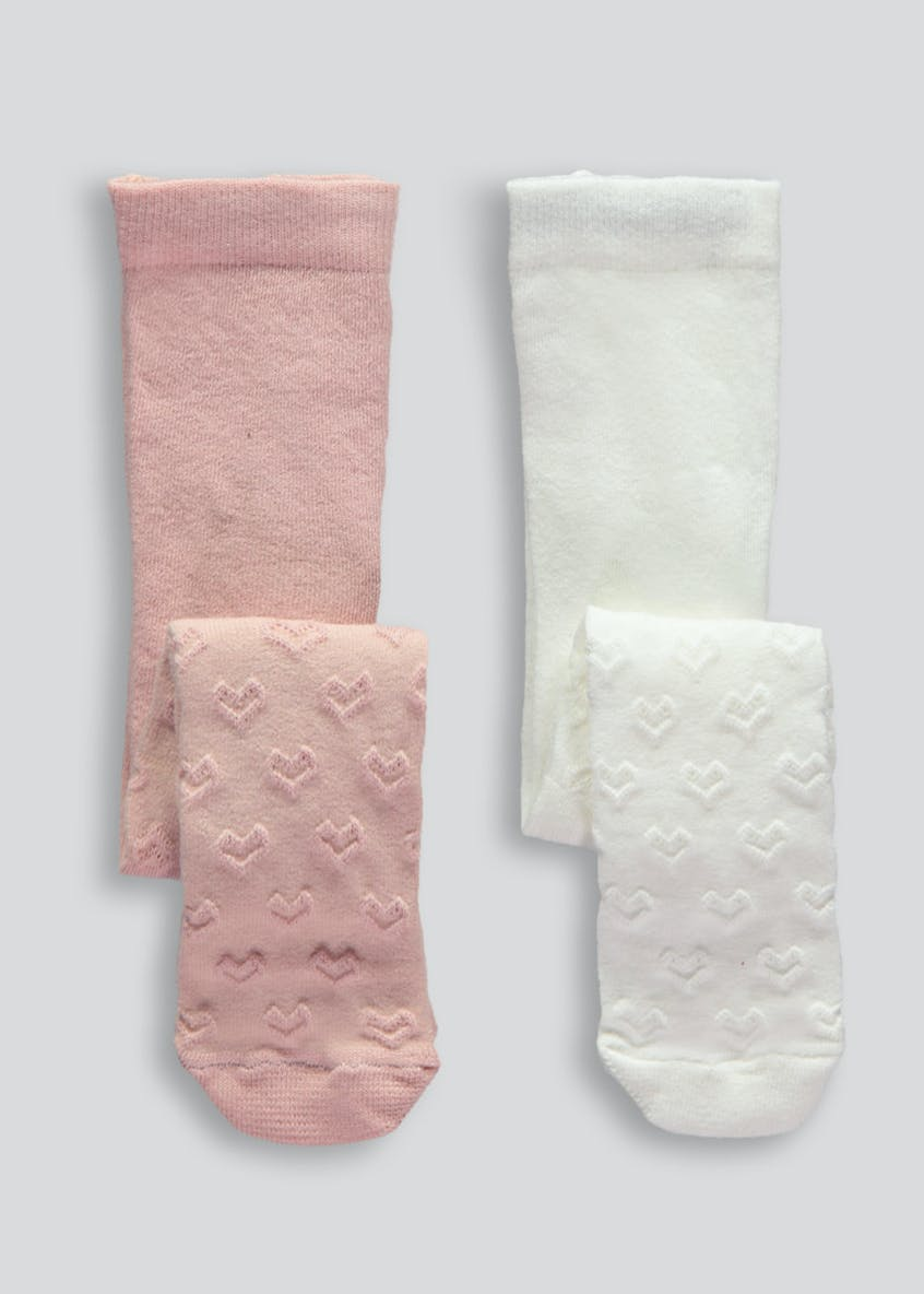 Girls 2 Pack Heart Tights (Newborn-4yrs)