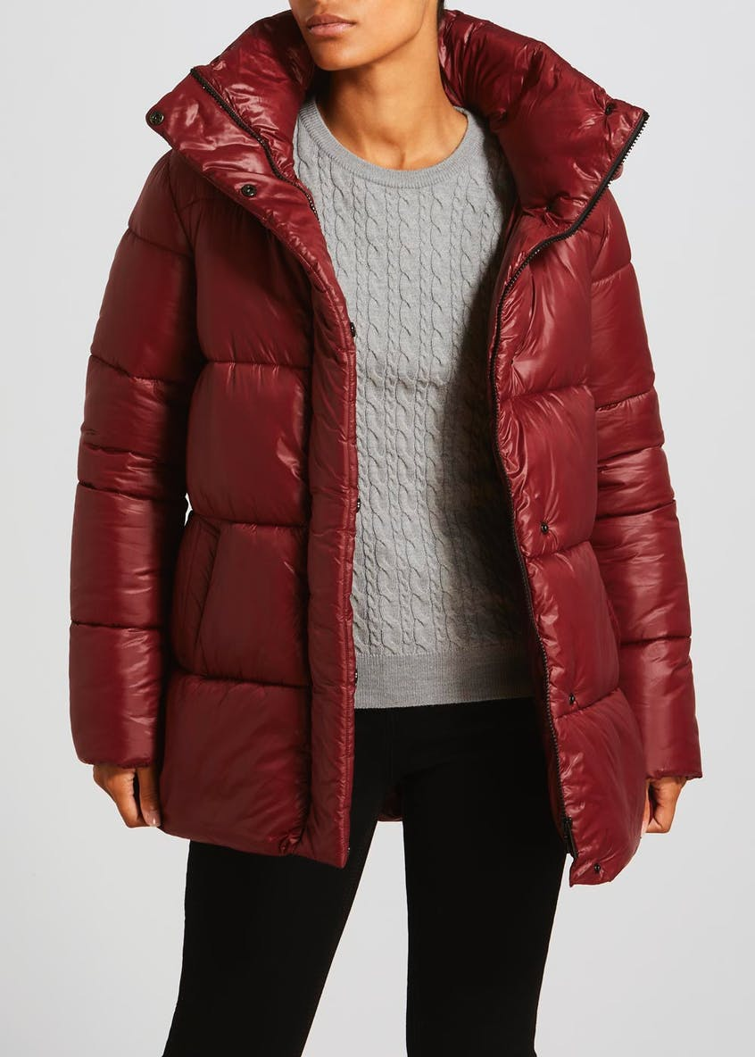 Burgundy High Shine Padded Coat