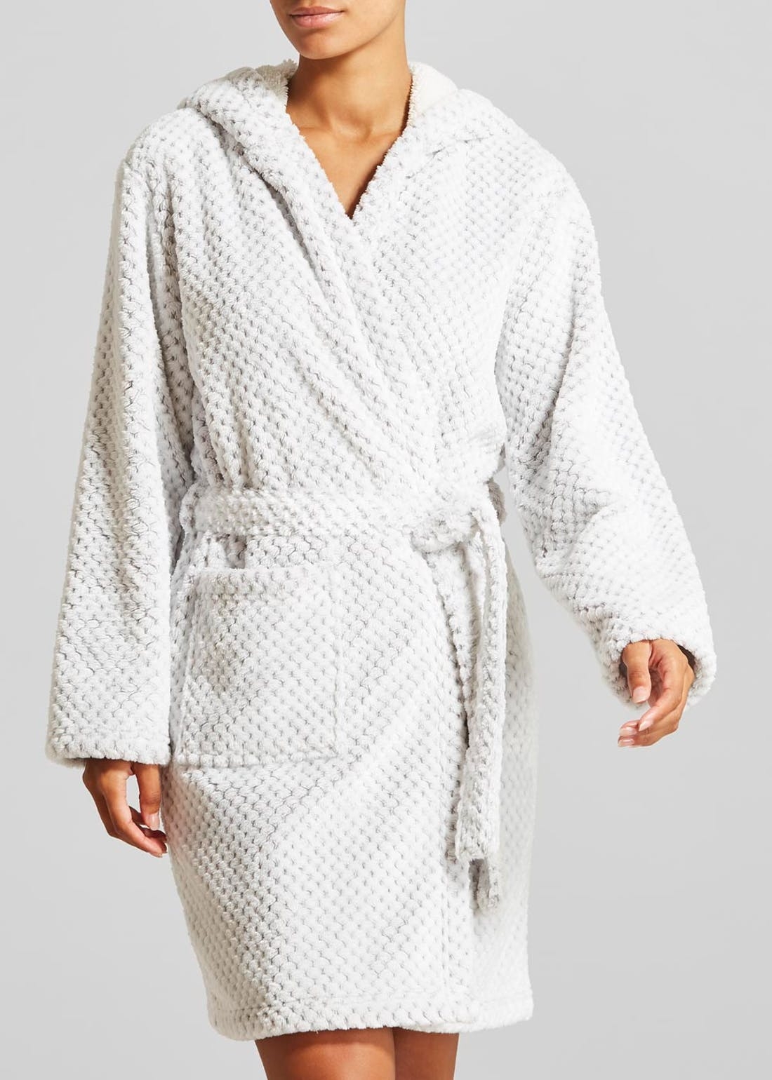 Honeycomb Textured Hooded Dressing Gown