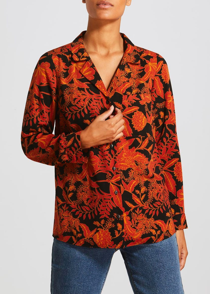 Orange Long Sleeve Floral Revere Collar Shirt