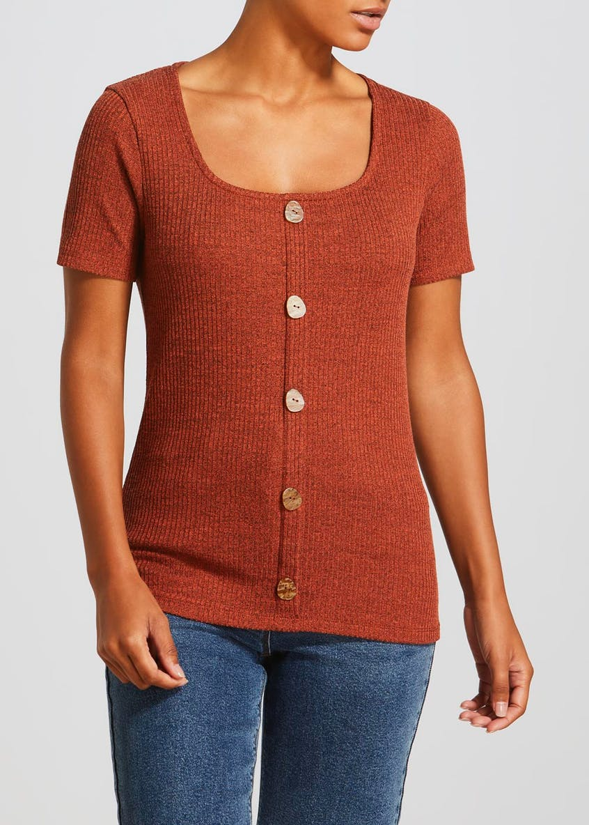 Square Neck Button Front T-Shirt
