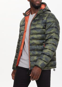 Green Camo Hooded Puffer Jacket