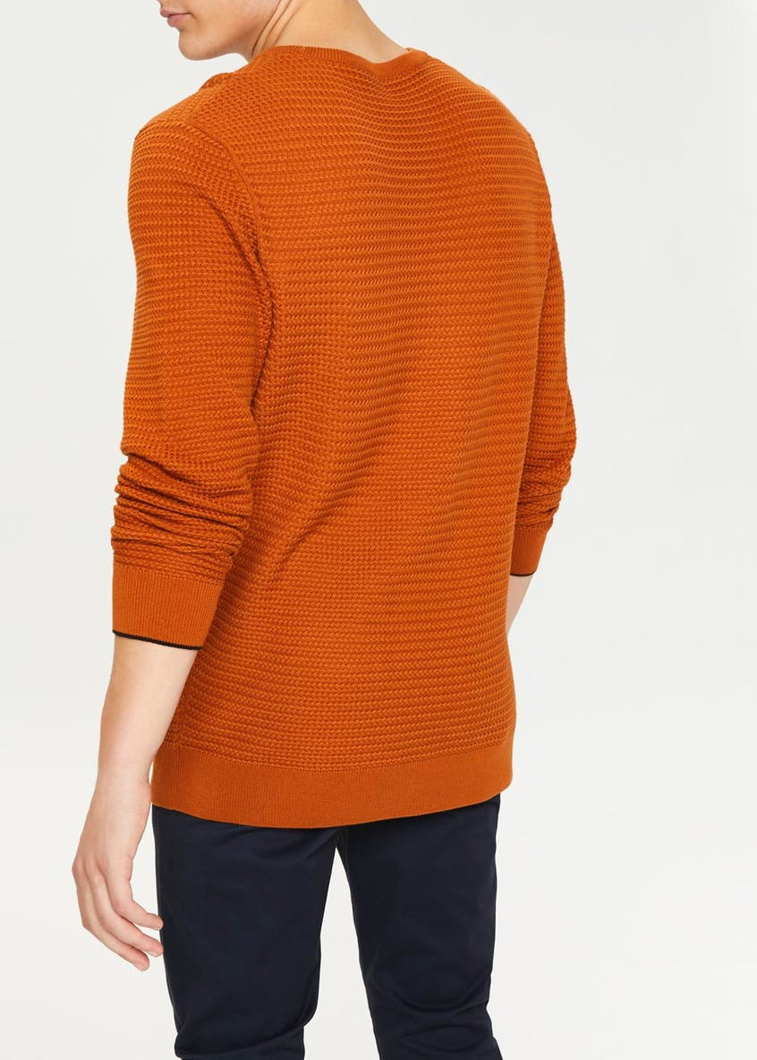 Basketweave Stitch Crew Neck Jumper