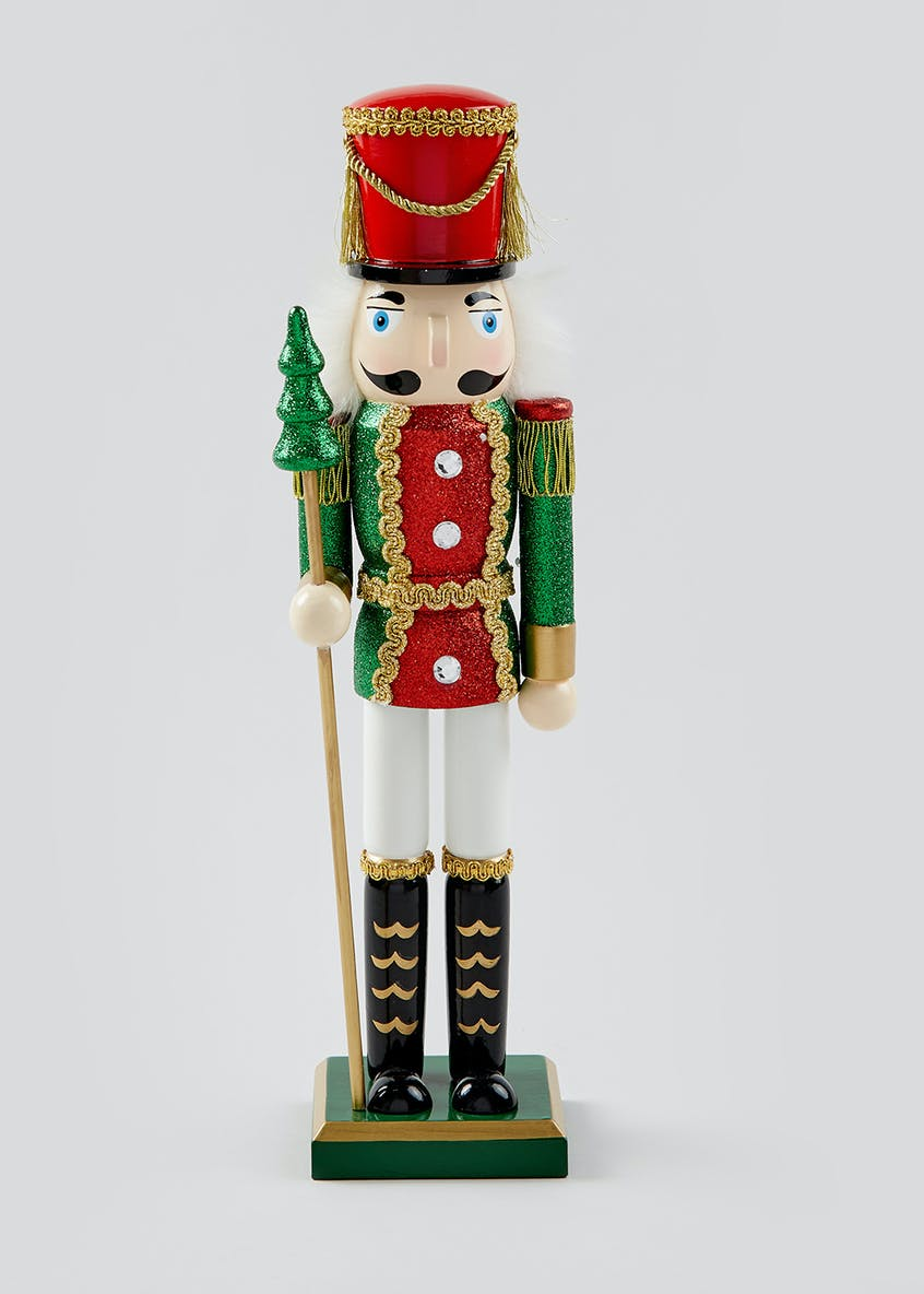 Glitter Nutcracker Christmas Decoration (38cm x 11cm)