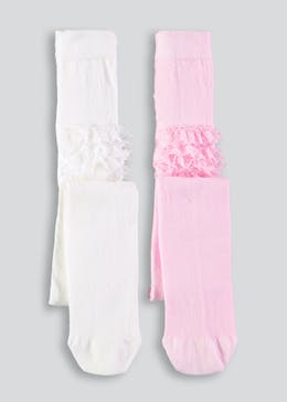 Girls 2 Pack Frill Bottom Tights (Newborn-4yrs)