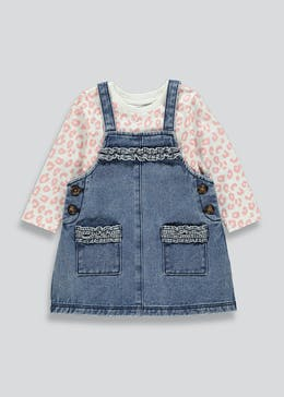 Girls Denim Pinafore & Animal Print Top Set (9mths-6yrs)