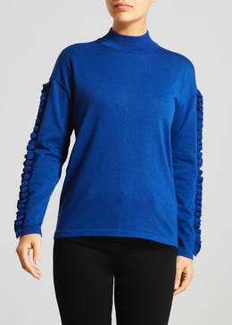 Frill Sleeve High Neck Jumper