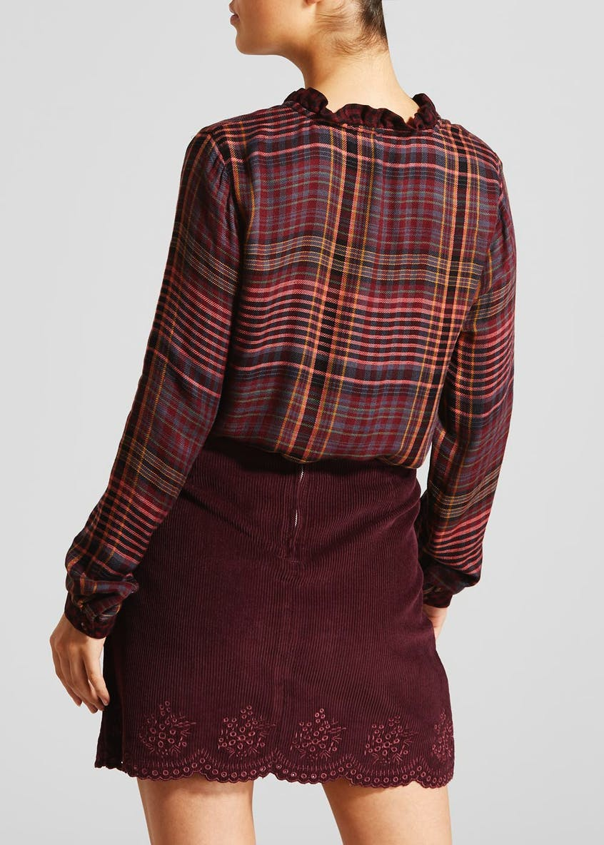 Falmer Long Sleeve V-Neck Check Blouse