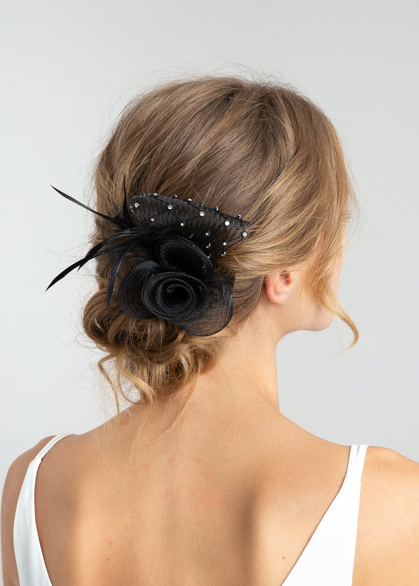 Diamante Loop Feather Hair Slide