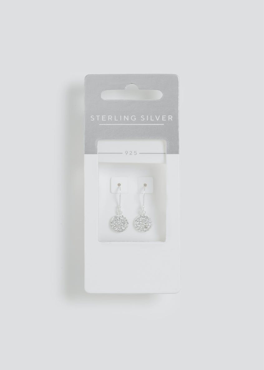 Sterling Silver Rhinestone Circle Drop Earrings