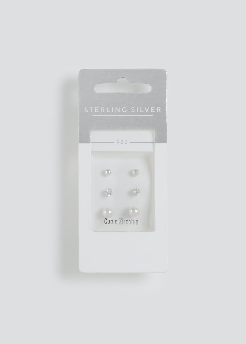 Sterling Silver Multi Pearl Earrings