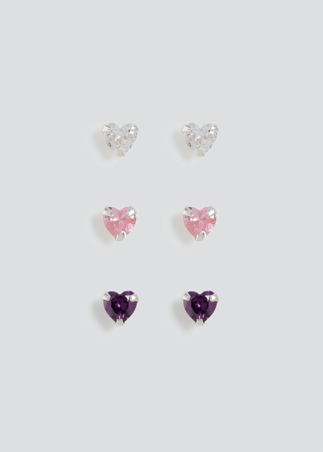 3 Pack Sterling Silver Heart Stud Earrings