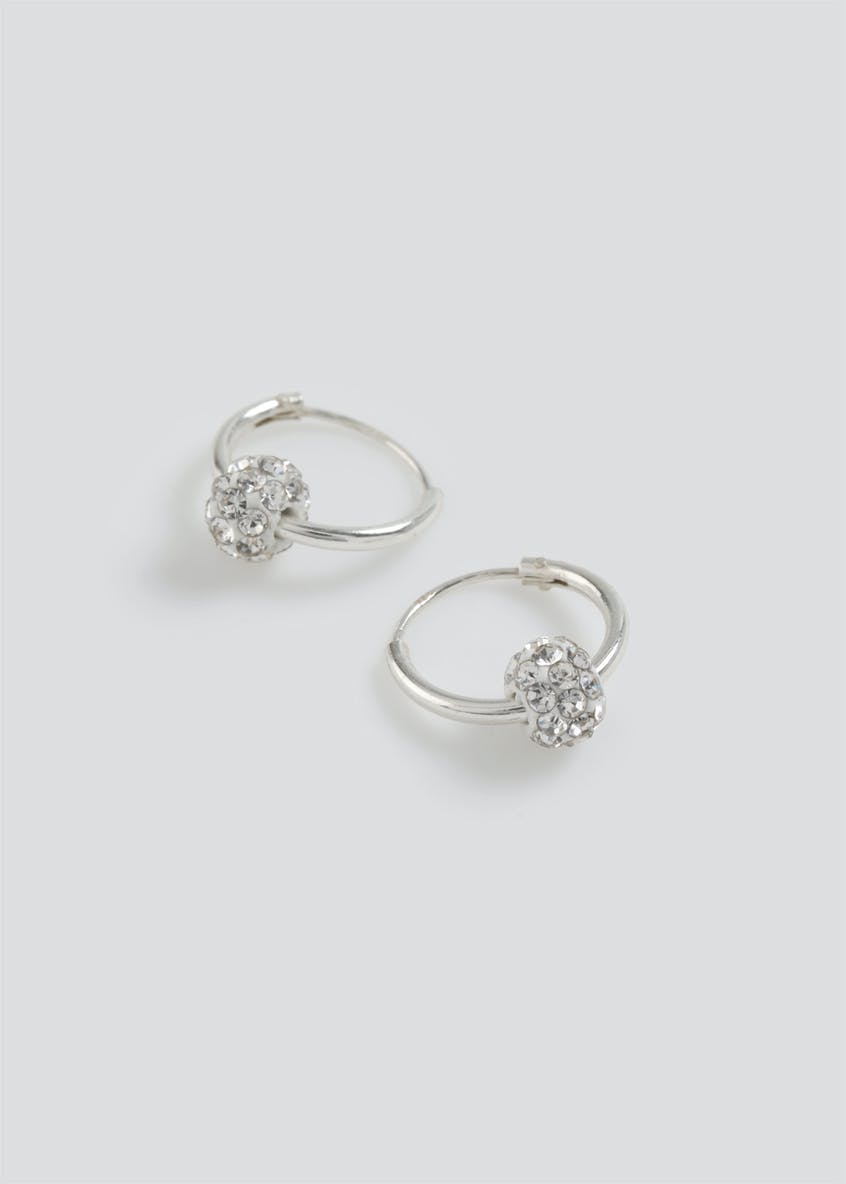 Sterling Silver Rhinestone Ball Hoop Earrings