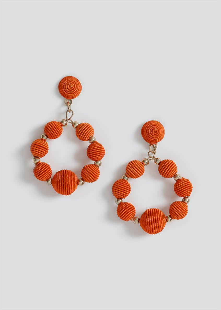 Wrapped Bead Circle Drop Earrings