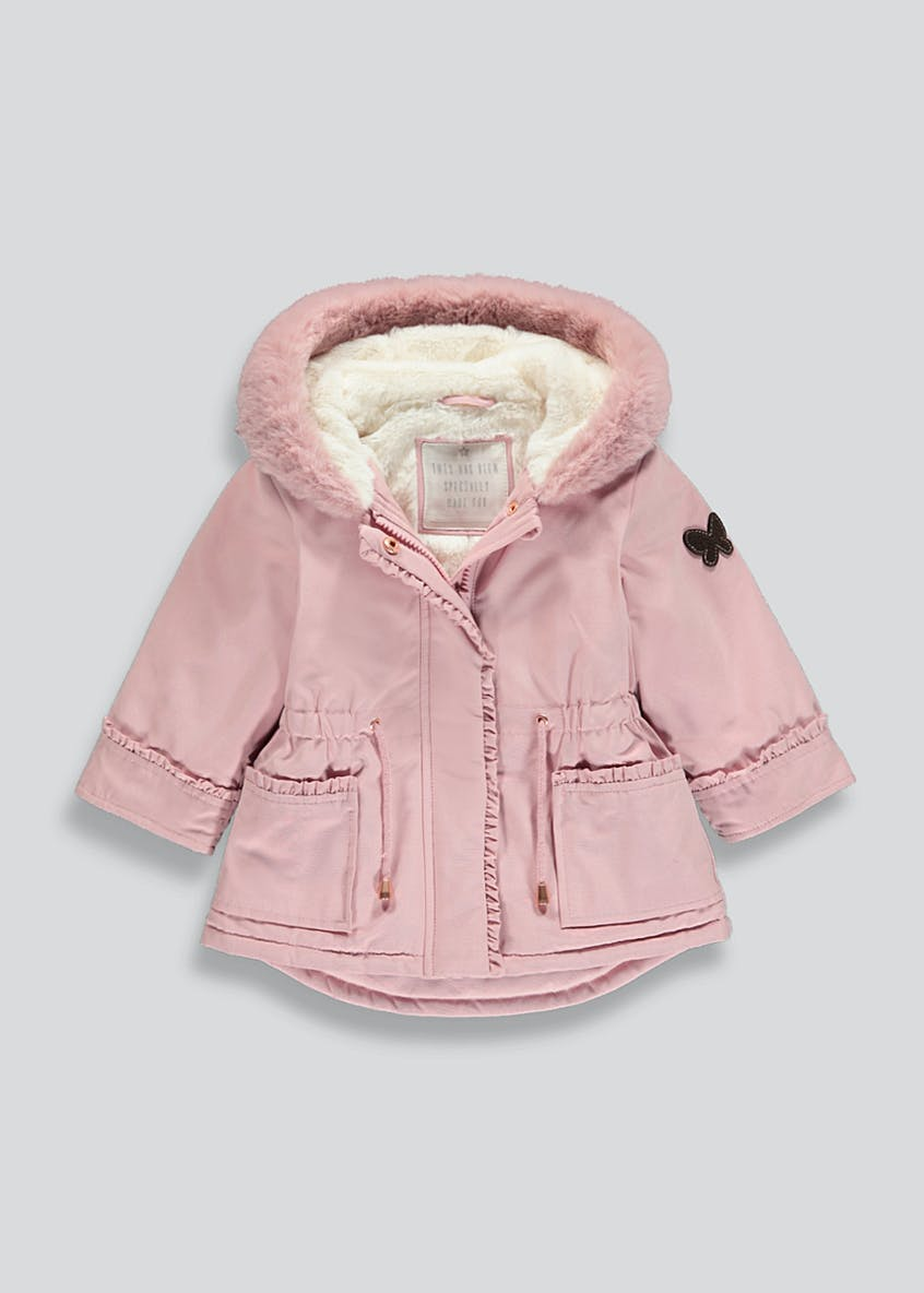Girls Faux Fur Trim Parka (9mths-6yrs)