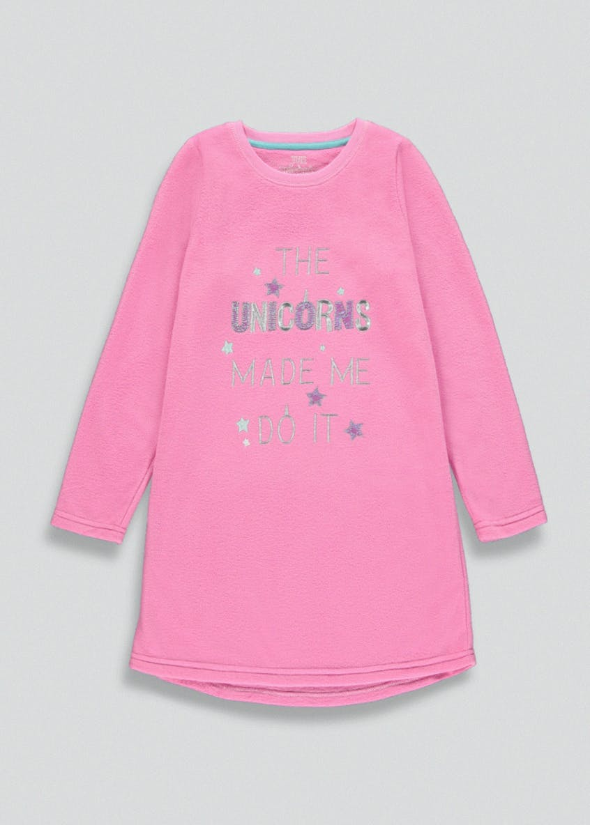 Girls Unicorn Fleece Nightie (4-13yrs)