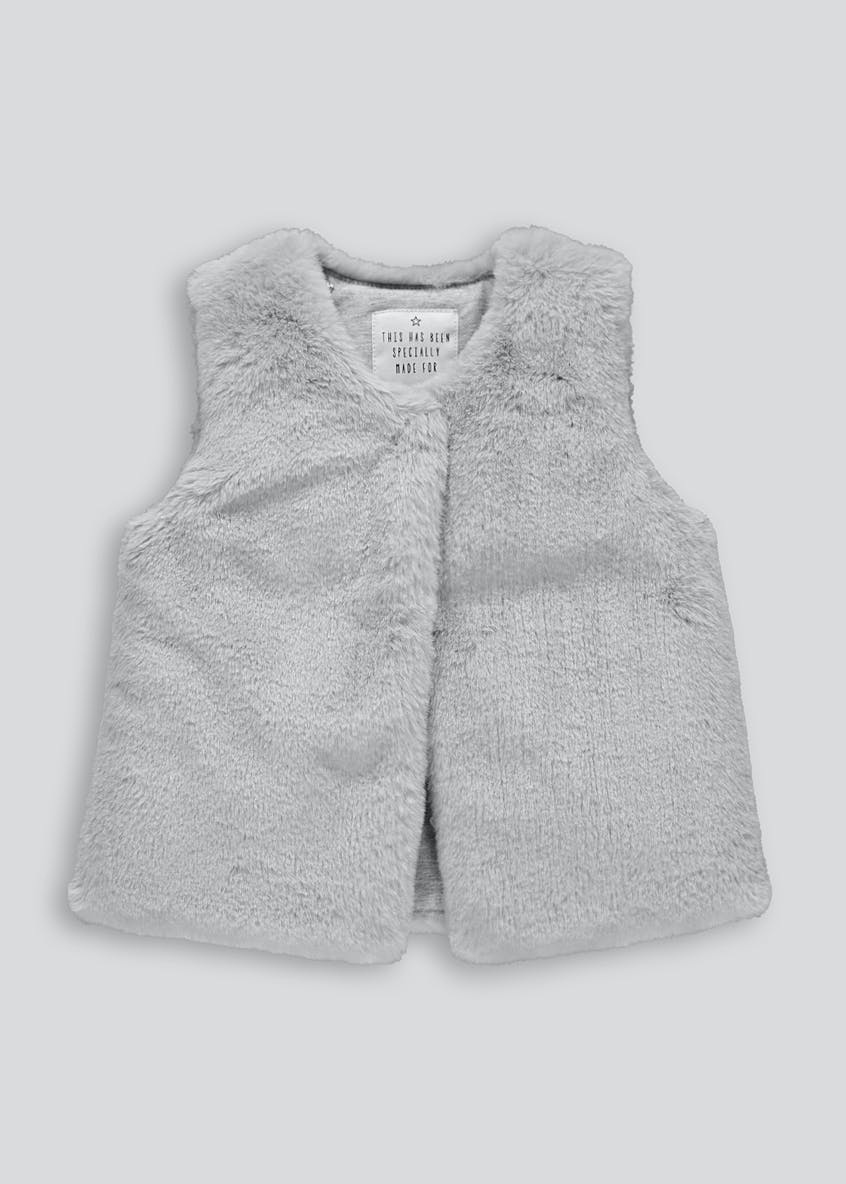 Girls Grey Faux Fur Gilet (9mths-6yrs)