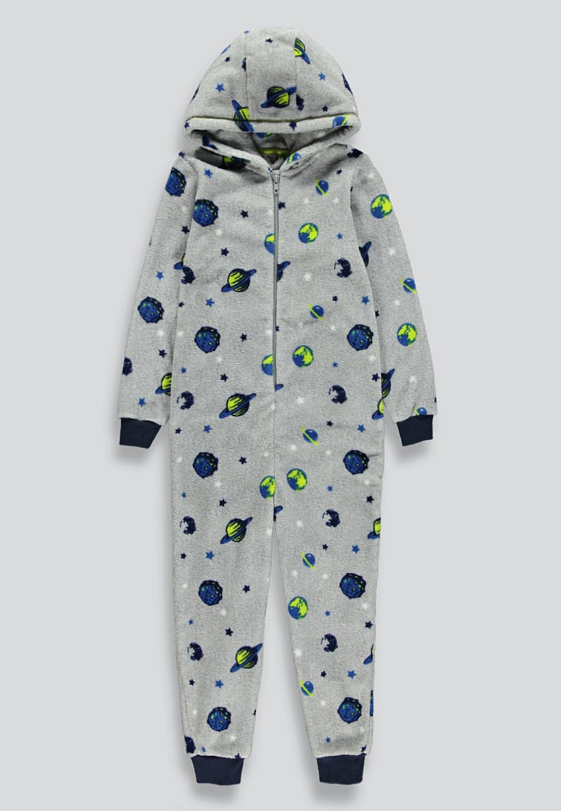 Kids Space Hooded Fleece Onesie (6-13yrs)
