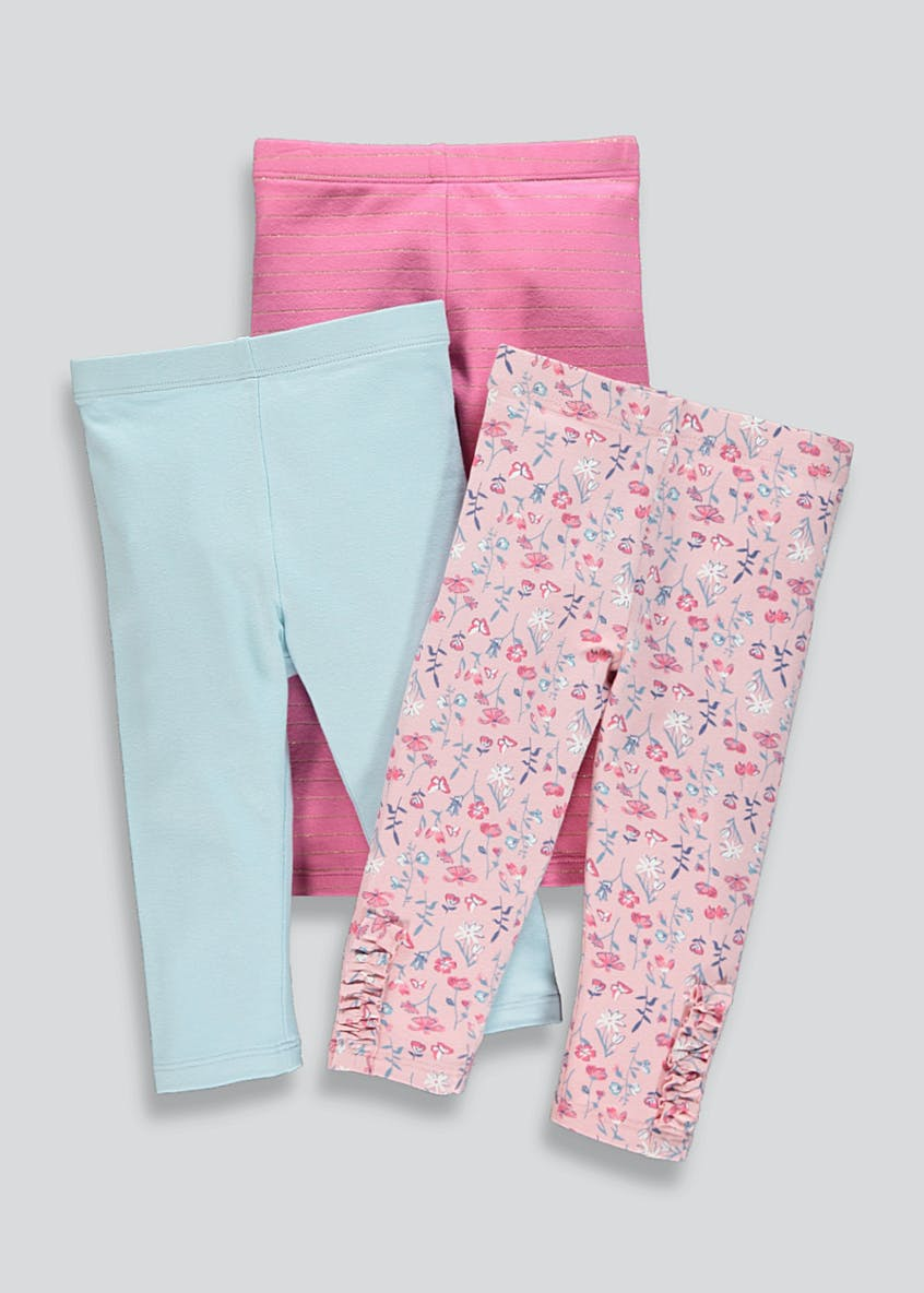 Girls 3 Pack Frill Floral Leggings (9mths-6yrs)