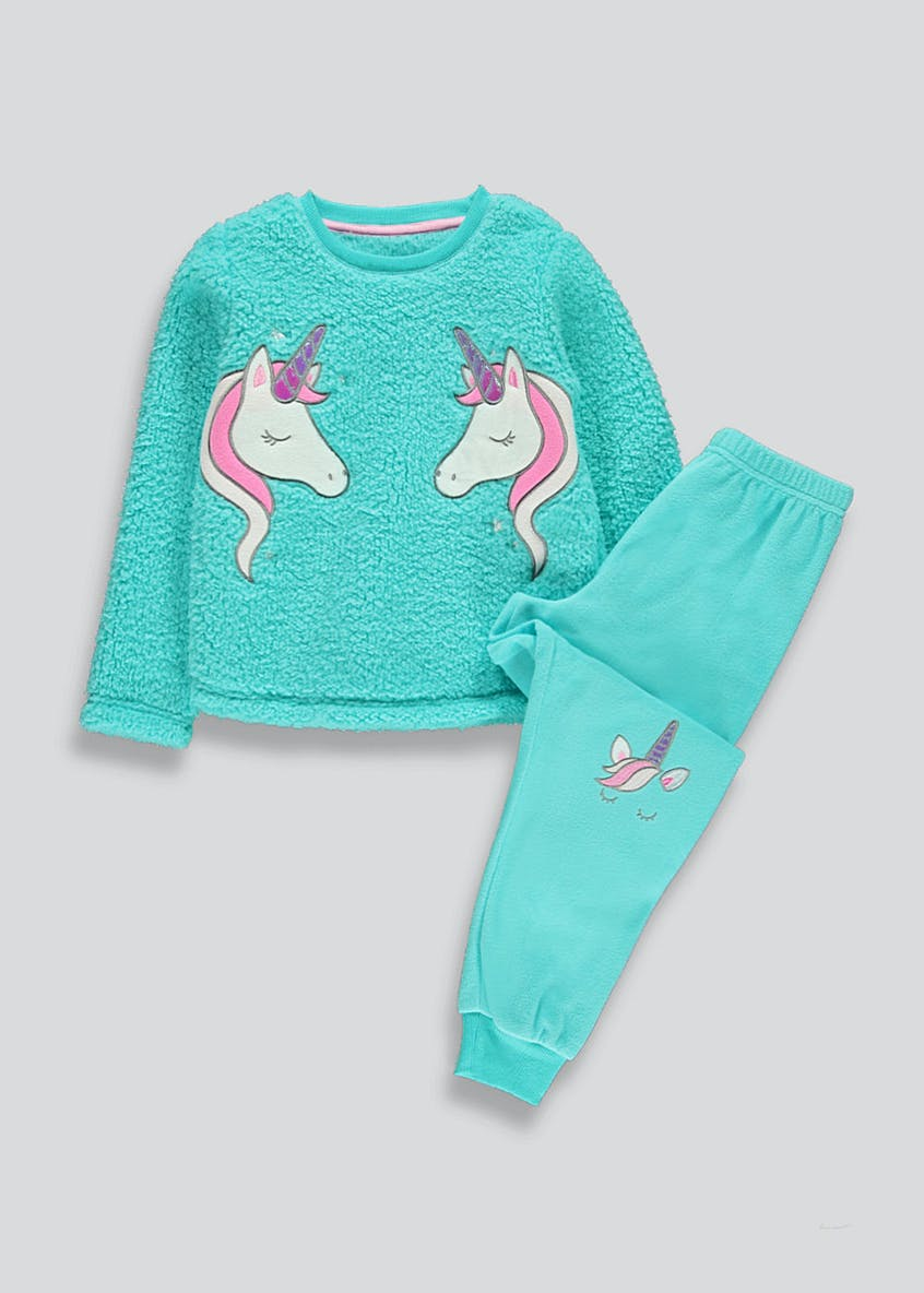 Girls Fleece Unicorn Pyjama Set (4-13yrs)