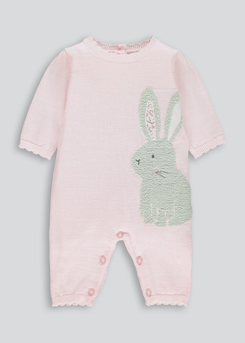 Girls Knitted Bunny Romper (Tiny Baby-18mths)