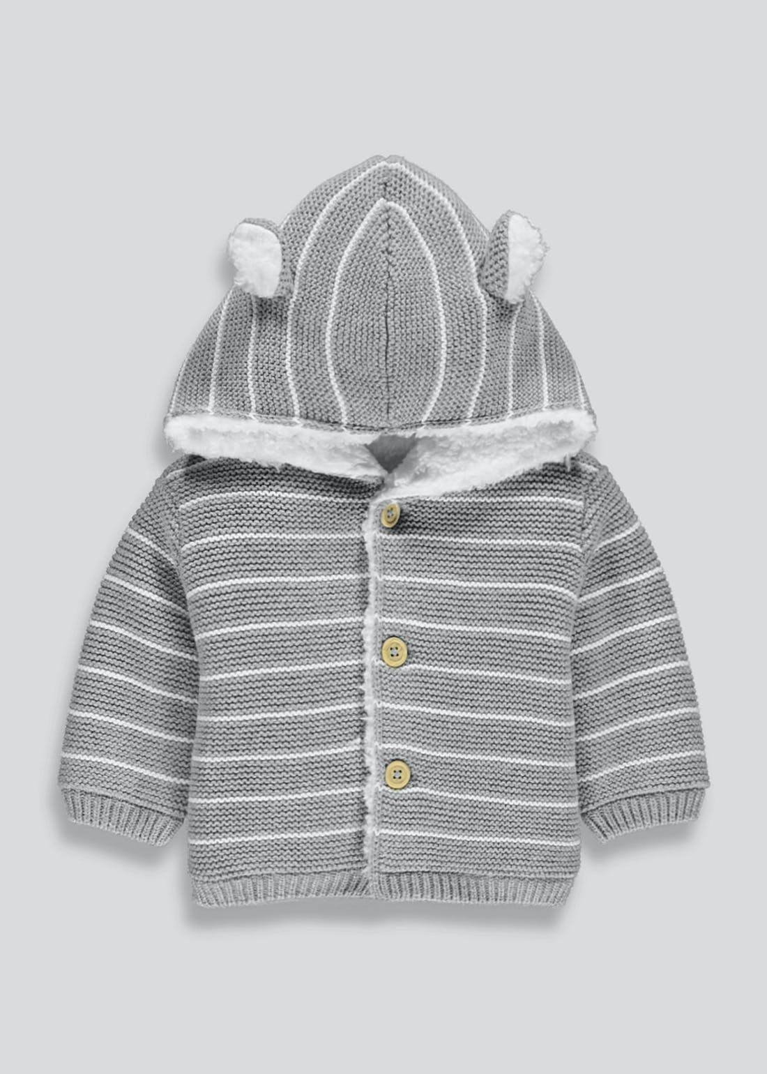 Unisex Stripe 3D Ears Cardigan (Tiny Baby-18mths)
