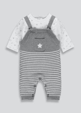 Unisex Knitted Dungarees & Top Set (Tiny Baby-18mths)