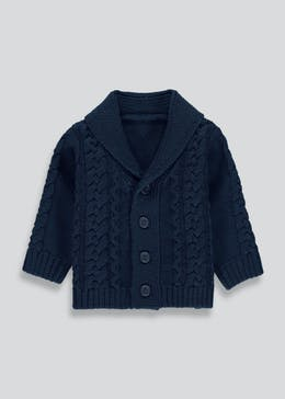 Unisex Cable Knit Shawl Cardigan (Newborn-18mths)