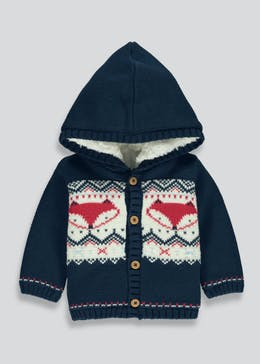 Unisex Fox Borg Lined Hooded Cardigan (Newborn-18mths)