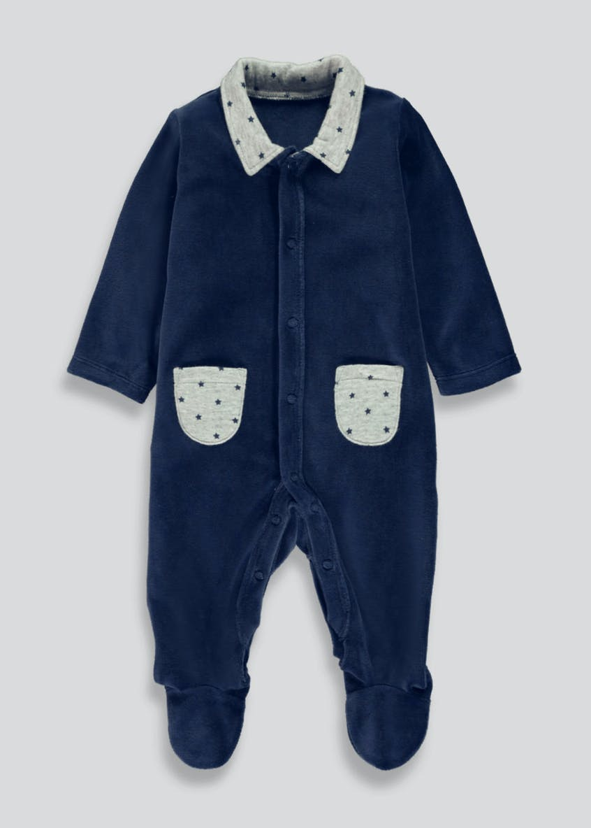 Boys Fleece Baby Grow (Newborn-18mths)